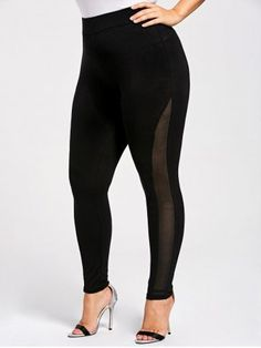 2662d0cd70b Plus Size Skinny Mesh Panel Leggings - BLACK - XL