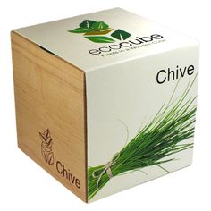 Ecocube Chive : ciboulette à cultiver dans un cube en bois décoratif.  #cadeau #plantes #graines #ecocube #ciboulette