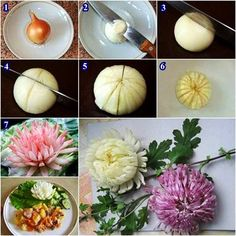 Making onion chrysanthemum yourself - Diyprojectgard - Food Carving Ideas L'art Du Fruit, Deco Fruit, Fruit Art, Fruit Salad, Vegetable Crafts, Vegetable Design, Fruit And Vegetable Carving, Fruit Decorations, Food Decoration