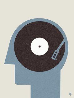 Music On The Mind. A new illustration by Christopher David Ryan: Art Design, Logo Design, Art Postal, Posters Vintage, Minimalist Graphic Design, Plakat Design, Grafik Design, Vinyl Art, Retro