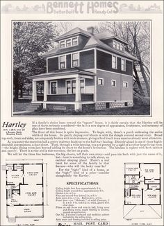 Ameerican Foursquare - The Hartley - 1922 Bennett Homes - Ray H. Bennett Lumber Co. - Kit Houses