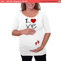 "Memorial Day SALE 10% OFF Maternity Shirt ""Love"" with footprints Perfect for valentine's day or everyday use, short or 3/4 ..."