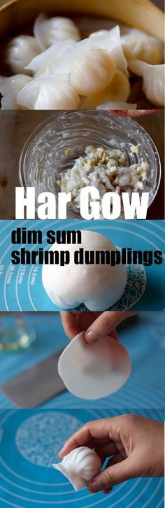 Har gow, Dim sum style shrimp dumpling s Dim Sum, Seafood Recipes, Cooking Recipes, Asian Cooking, Shrimp Dumplings, Chinese Dumplings, Food Dishes, Asian Recipes, Love Food