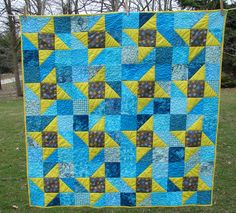 Friendship Star Quilt .. no pattern needed .. but ideas, ideas!   I love, love, love blue and yellow!
