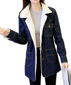 ddb9322f96ce Women's Mid Long Thick Fleece Sherpa Lined Windbreaker Denim Trucker Jacket  Denim Jacket Fashion, Denim