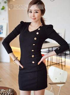 Modern Impression Top Quality Pure Color Slim Day Dress
