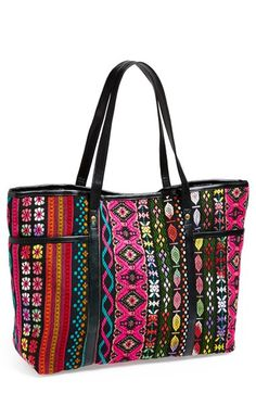 "Topshop 'Poppins' Tapestry Tote | Nordstrom | $52.00 - I love the pattern on this one. But again, might be too big. 15""W x 12""H x 5 1/2""D. 8"" strap drop."