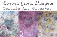 **GIVEAWAY TIME!** Hop over to www.facebook.com/emmajunedesigns to win an original Emma June Designs hand dyed linen heart artwork! The best thing is you get to pick the colour you like the most :) All you have to do is sign up to my mailing list through this link: http://eepurl.com/SMjBb and 'like' my facebook page. The winner will be announced on Thursday 24th April. Good luck! EJD ♥