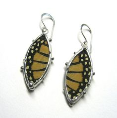 Monarch butterfly wing earrings