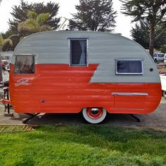 Orange -Gray Shasta canned ham | vintage camper - retro caravan <O>