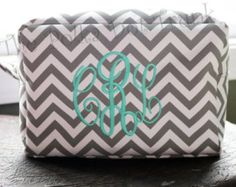 Monogrammed Chevron Cosmetic Bag, Makeup Bag, Bridesmaid Gift