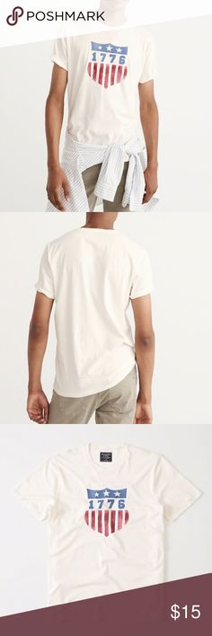 Abercrombie Fitch Men's USA 🇺🇸 Graphic Tee Soft 100% Cotton Men's Basic Tee Shirt from A&F Must Have!!! ⭐️ Abercrombie & Fitch Shirts Tees - Short Sleeve