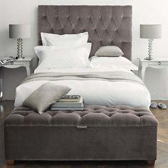 tufted headboard, The White Company. Gray Bedroom, Home Bedroom, Bedroom Furniture, Master Bedroom, Bedroom Decor, Bedroom Ideas, Grey Bedding, Bedroom Inspiration, Modern Bedroom