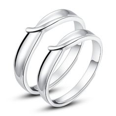 Moon Wings White Gold Plated Solid Sterling Silver Adjustable Open Ring Couple Rings Set