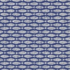 Samaki (110464) - Scion Wallpapers - A textured fish motif taken from a simple lino-cut. Shown here in ink blue colouring - more colours are available. Please request a sample for true colour match. Paste-the-wall product. Free pattern match. Actual pattern repeat is 5.2cm.