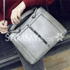 Simple Women's Tote Bag With Solid Colour and Zipper Design