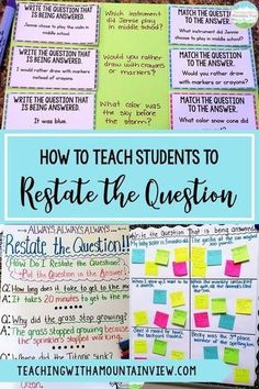 One of the most important lessons that I teach my upper elementary students is how to restate the question in the answer. We start with a lesson about how to restate the question. PQA: Put the Question in the Answer. This can still be tricky for some kids 6th Grade Ela, 3rd Grade Writing, 6th Grade Reading, Middle School Writing, Fourth Grade, Third Grade, Race Writing, Teaching Writing, Teaching Ideas