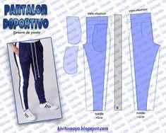 KiVita MoYo : PANTALON DEPORTIVO UNISEX Mens Sewing Patterns, Clothing Patterns, Dress Patterns, Sewing Pants, Sewing Clothes, Diy Clothes, Fashion Sewing, Diy Fashion, Unisex