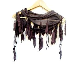 NEW LISTING Natural Cotton Scarf Adorned Fringed by ScarfLovers