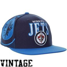 Mitchell  amp  Ness Winnipeg Jets Vintage Laser Stitch Snapback Hat - Navy  Blue Royal f48f3e653
