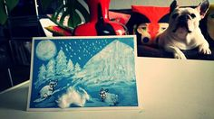 french bulldog winter/christmas unique card, made with fingerprint and pencil technique, frenchie snow fun by BoubouleArt on Etsy