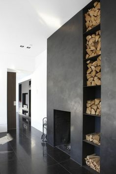 Fantastic Images Outdoor Fireplace with wood storage Tips Regardless how a great deal you actually design and style your home on the inside; it's your outer design that. Fireplace Update, Home Fireplace, Modern Fireplace, Fireplace Ideas, Fireplace Tile Surround, Fireplace Design, Concrete Fireplace, Wood Storage, Storage Area