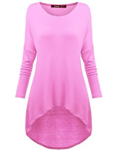 Thanth Womens Comfy Loose Fit Long Tunic Top With Various Hem BABYPINK X-Small
