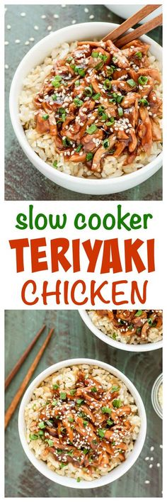 This slow cooker teriyaki chicken recipe is THE BEST! Easy, healthy, and only 10 minutes to prep. The chicken thighs are ultra tender and the brown sugar honey teriyaki sauce is out of this world! #healthy #slowcooker #crockpot #teriyakichicken