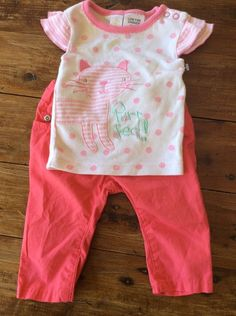 Brand New Without Tags Target Pink Pants Size 0 - 3 M Top Size 000 Cat Purfect