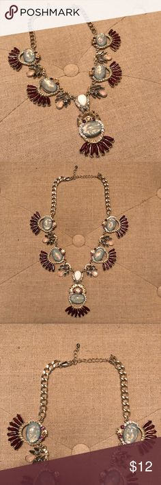 ASOS Statement Necklace Silver tone chain with ruby embellishments, silver crystals, and blue-green gemstones. ASOS Jewelry Necklaces