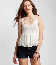 Lace-Back Tiered Peasant Tank