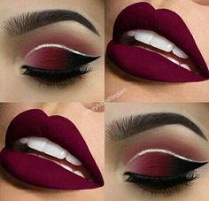 Make up tutorials. Make up products. Make up ideas. Make up on a budget Red Lip Makeup, Cute Makeup, Gorgeous Makeup, Pretty Makeup, Eyeshadow Makeup, Beauty Makeup, Hair Makeup, Maroon Makeup, Burgundy Makeup Look