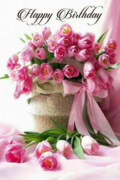 Beautiful Rose Flowers, Flowers For You, Beautiful Flower Arrangements, Amazing Flowers, Floral Arrangements, Happy Birthday Flower, Birthday Bouquet, Happy Birthday Pictures, Pink Tulips