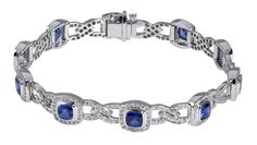 18K white gold bracelet with stations of cushion-shaped sapphires surrounded by pavé diamonds. Designed by @Carelle for TIVOL Collection.