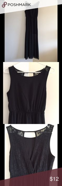 Black Maxi Dress - Worn Once! Black maxi dress, only worn once! Cute lace detail in the back with elastic waist. Attached slip hits right above the knees, so the dress is sheer past the knees. Perfect condition! Forever 21 Dresses Maxi