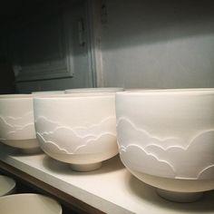 Step Three .... ... #Glazing JustGlazed #BeforeLastOven #handmadeceramics #porcelain #porcelaine #ceramic #ceramica #keramik #wheelthrownceramics #FaitMain #NimbusCups #CeramiqueContemporaine #ComtemporaryCeramics #TableWare #White #CeramicStudio #Paris #barbaralormelleceramics