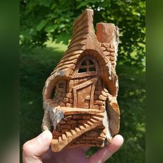 """This must be the smallest #cottonwoodbark house I carved this year, it is named """"By the Mossy Lake"""" #woodcarving #carving"""