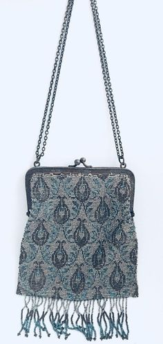31d113fd134e Vintage 1920 s Art Deco French Steel Floral Beaded Evening Bag Purse W  Tassels