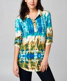 Look at this #zulilyfind! Taupe & Green Tie-Dye Button-Front Top - Women by A La Tzarina, $59 !!  #zulilyfinds