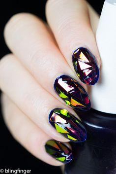 Shattered Glass Nail Art. http://www.blingfinger.net/2015/11/shattered-glass-nail-art-review-for-bps.html