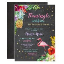 Aloha Bridal Shower Flamingo Chalk Gold Invite