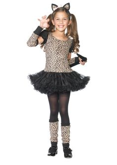 #C48129 Pick the purr-fect Halloween costume this year with the Little Leopard costume. The Little Leopard Costume includes a mid thigh length leopard print dress with black layered petticoat. Matchin