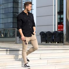 Black shirt outfits, mens black shirt, black casual shirt, casual shirts, m Black Shirt Outfits, Black Casual Shirt, Mens Black Shirt, Casual Shirts, Casual Outfits, Moda Men, Beige Chinos, Style Masculin, Look Man
