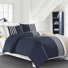 Shop Nautica Aport Duvet & Sham Set at Boscov's online! Find a huge selection of Comforters & Bedding Sets for the lowest prices today! Bed Duvet Covers, Duvet Cover Sets, Comforter Sets, King Comforter, Striped Bedding, Ruffle Bedding, Navy Bedding, Draps Design, Bedding Collections