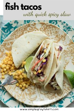 these fish tacos with a spicy slaw are a great family meal anytime of year. The slaw can be made ahead of time, making this a great dinner to meal prep. The fish cooks quickly and with Taco Tuesday happening each week, you can easily make these on repeat! Kosher Recipes, Spicy Recipes, Baby Food Recipes, Healthy Weeknight Dinners, Easy Meals, Simple Meals, Easy Fish Recipes, Easy Dinner Recipes, Whats For Lunch
