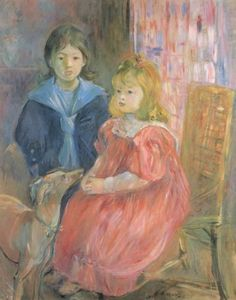 berthe morisot - french children with whippet (1893)