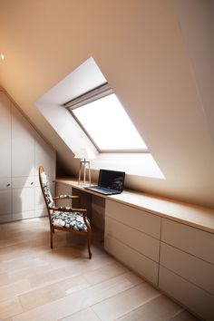 Awesome Attic Decoration Ideas great ideas for loft rooms for your inspirationLoft Attic Wardrobe.Contemporary MDF sloping wardrobe in the loft storage room. Another pattern of built-in furniture designed by our company is a House Design, Room Design, Attic Rooms, Loft Room, House, Home, Bedroom Loft, Loft Conversion Bedroom, Built In Cupboards