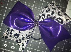 Purple Mystique / White and Silver sequins with Black Cheetah print Cheer Bow