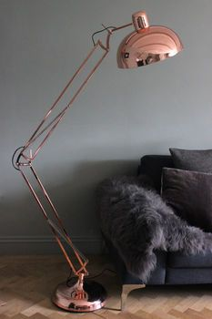 copper angled floor lamp by the forest & co | notonthehighstreet.com