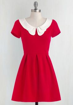 Looking to Tomorrow Dress in Rouge - Red, White, Solid, Peter Pan Collar, Casual, Vintage Inspired, Short Sleeves, Exposed zipper, Scholastic/Collegiate, Collared, Fit & Flare, Mid-length, Americana, Top Rated